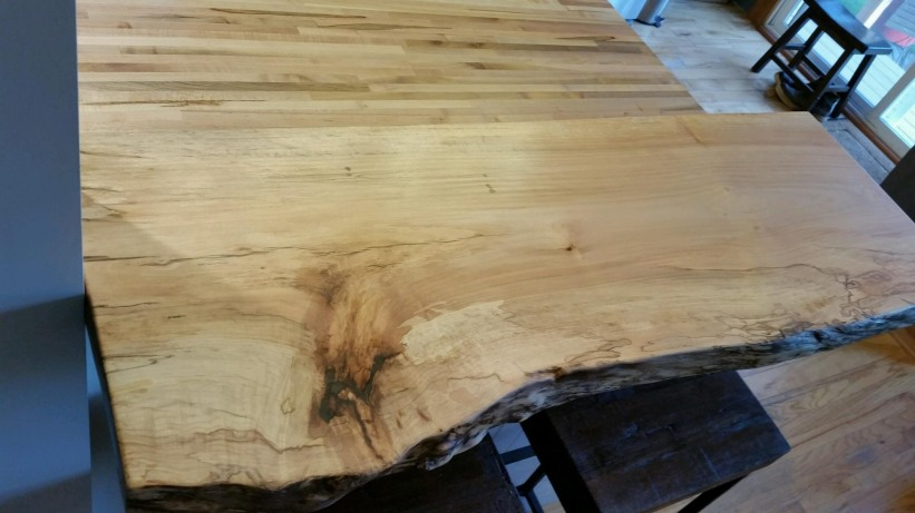 Finished maple slab breakfast counter.